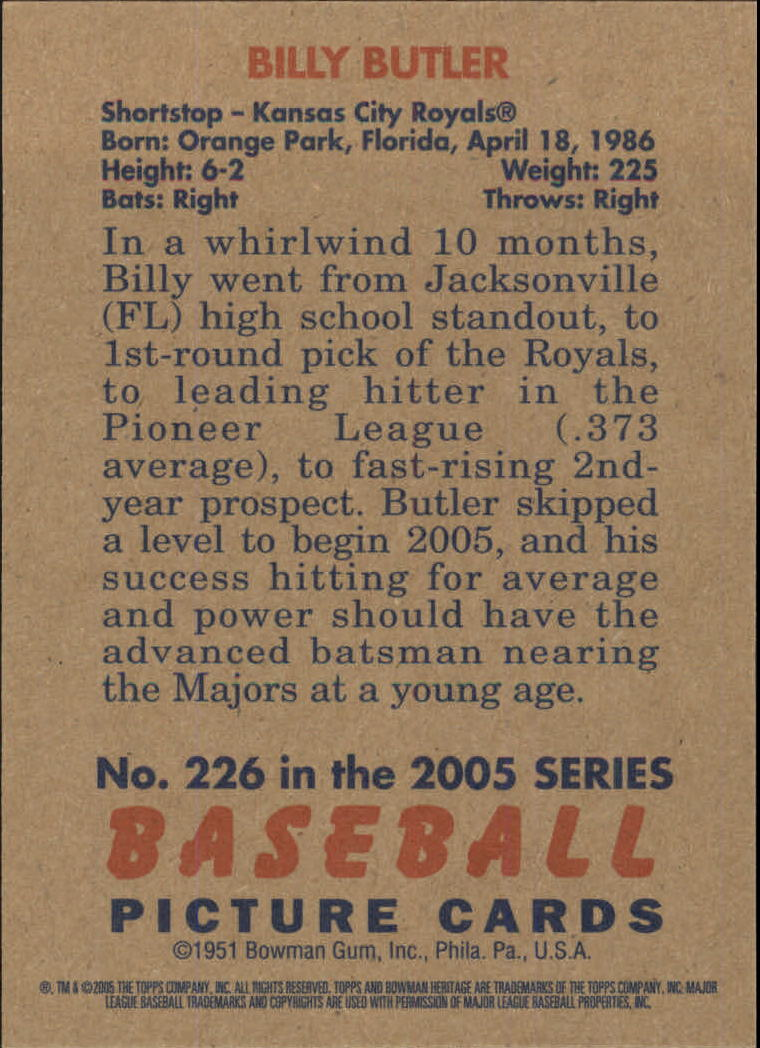 2005 Bowman Heritage #226 Billy Butler FY RC back image