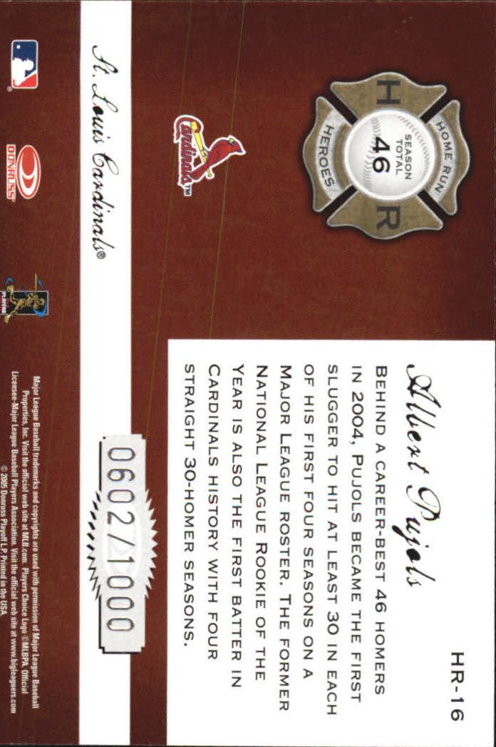 2005 Donruss Classics Home Run Heroes #16 Albert Pujols back image