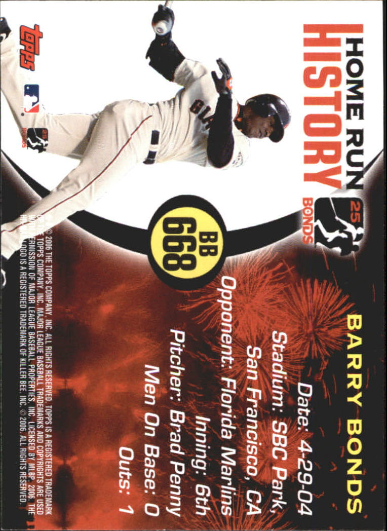 2005 Topps Barry Bonds Home Run History #668 Barry Bonds HR668 back image