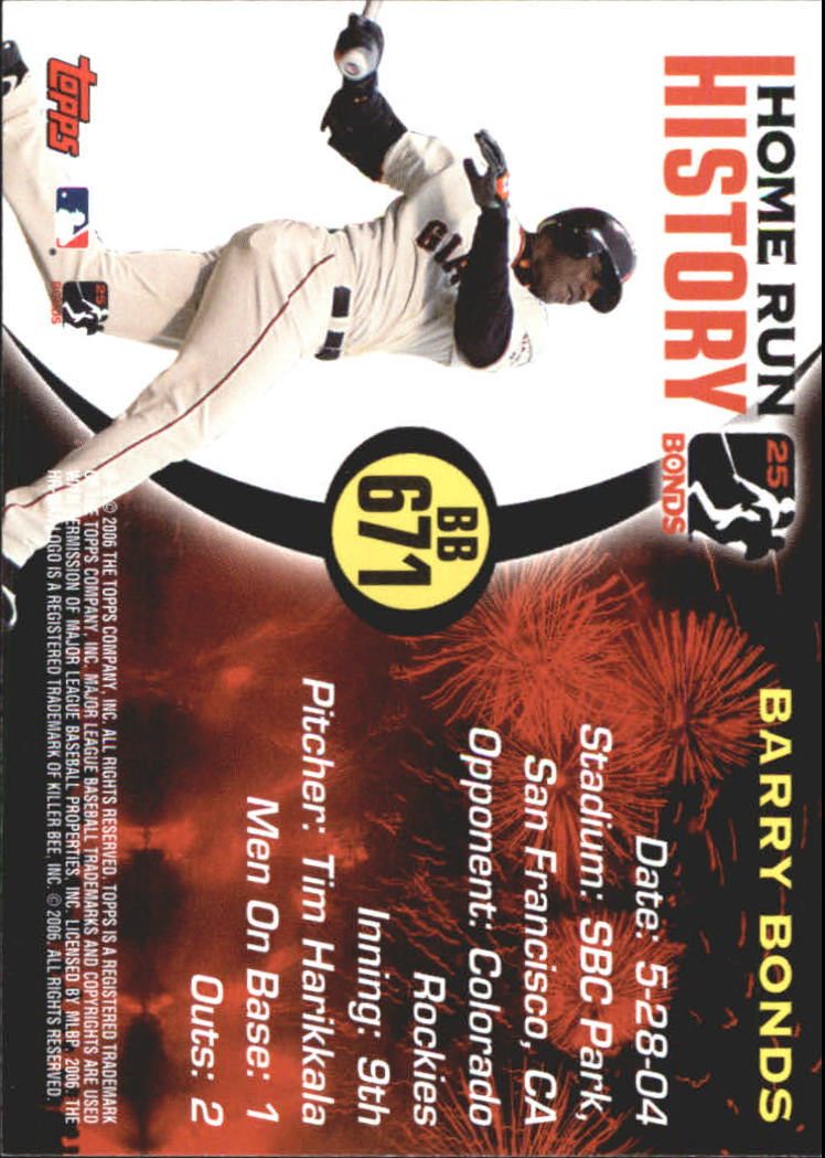 2005 Topps Barry Bonds Home Run History #671 Barry Bonds HR671 back image