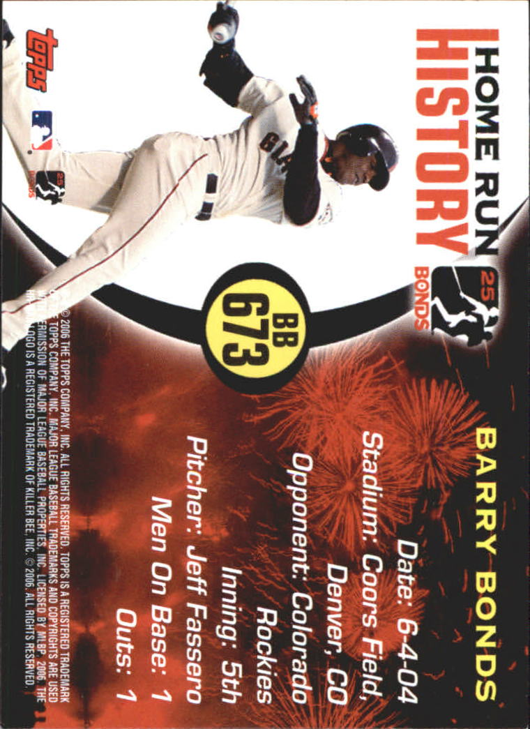 2005 Topps Barry Bonds Home Run History #673 Barry Bonds HR673 back image