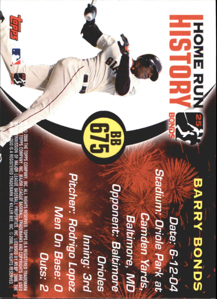 2005 Topps Barry Bonds Home Run History #675 Barry Bonds HR675 back image