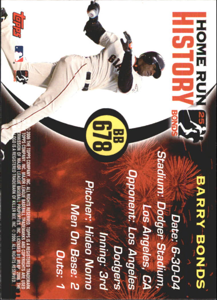 2005 Topps Barry Bonds Home Run History #678 Barry Bonds HR678 back image