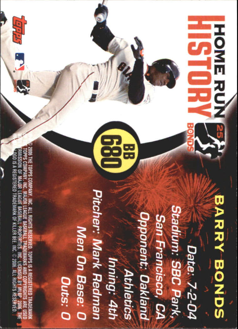 2005 Topps Barry Bonds Home Run History #680 Barry Bonds HR680 back image