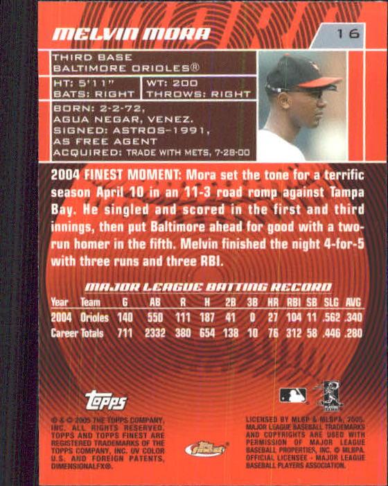 2005 Finest #16 Melvin Mora back image