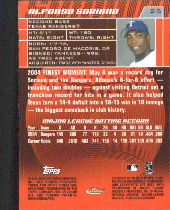 2005 Finest #25 Alfonso Soriano back image
