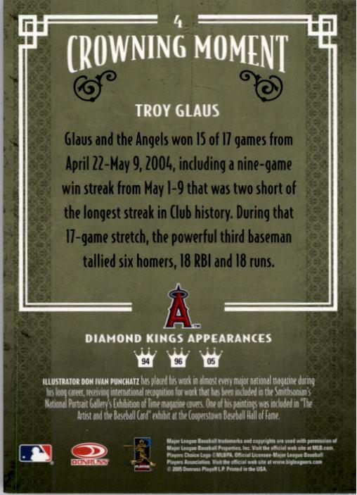 2005 Diamond Kings #4 Troy Glaus back image