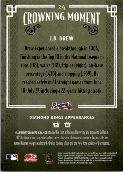 2005 Diamond Kings #24 J.D. Drew back image