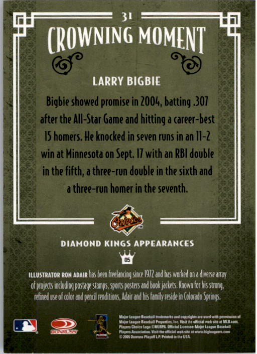 2005 Diamond Kings #31 Larry Bigbie back image