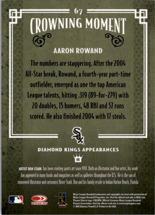2005 Diamond Kings #67 Aaron Rowand back image
