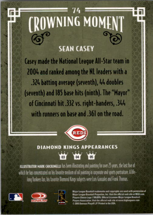2005 Diamond Kings #74 Sean Casey back image