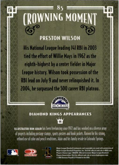 2005 Diamond Kings #85 Preston Wilson back image