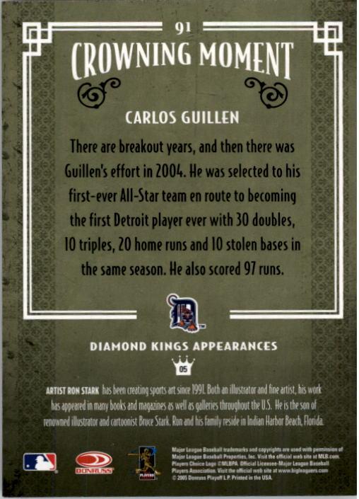 2005 Diamond Kings #91 Carlos Guillen back image