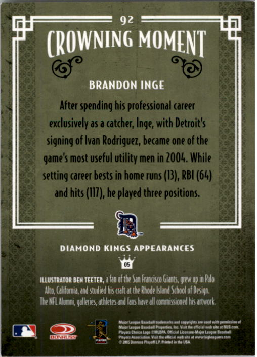 2005 Diamond Kings #92 Brandon Inge back image