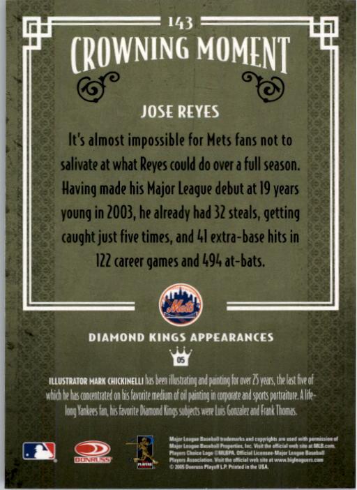 2005 Diamond Kings #143 Jose Reyes back image