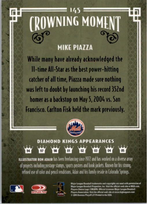 2005 Diamond Kings #145 Mike Piazza back image