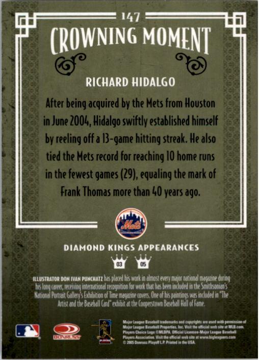2005 Diamond Kings #147 Richard Hidalgo Mets back image