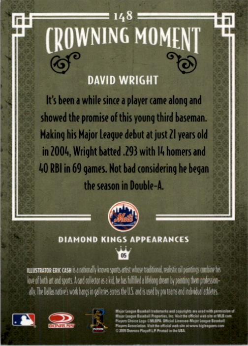 2005 Diamond Kings #148 David Wright back image