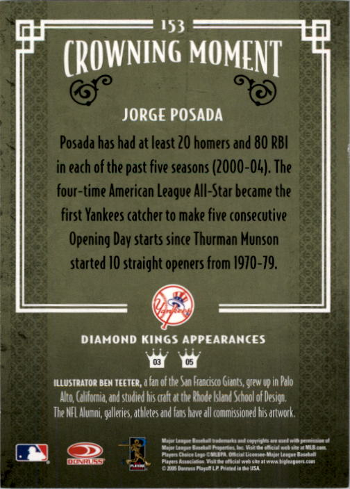 2005 Diamond Kings #153 Jorge Posada back image