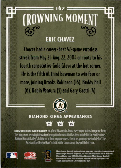 2005 Diamond Kings #162 Eric Chavez back image