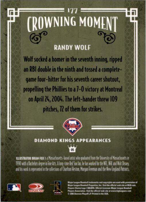 2005 Diamond Kings #177 Randy Wolf back image