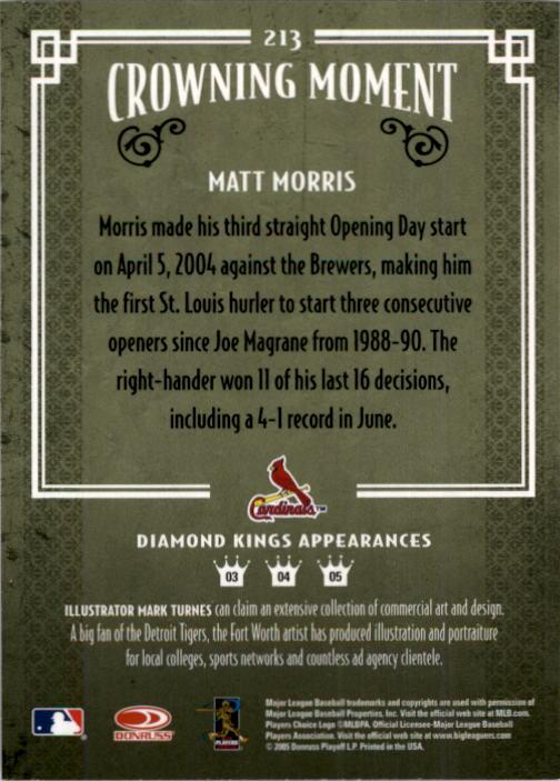 2005 Diamond Kings #213 Matt Morris back image