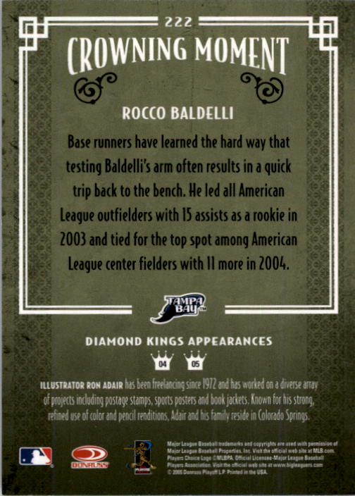 2005 Diamond Kings #222 Rocco Baldelli back image