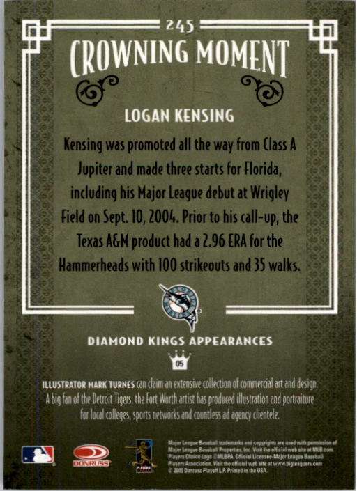 2005 Diamond Kings #245 Logan Kensing back image