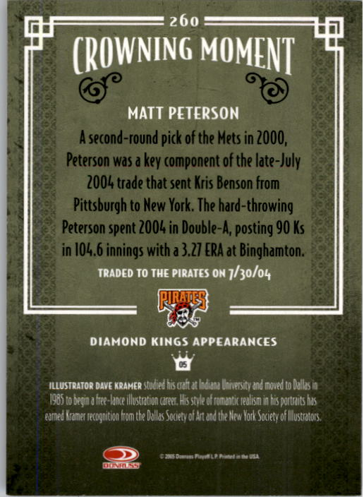 2005 Diamond Kings #260 Matt Peterson back image