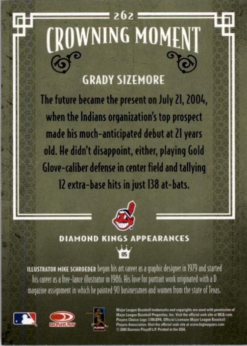 2005 Diamond Kings #262 Grady Sizemore back image