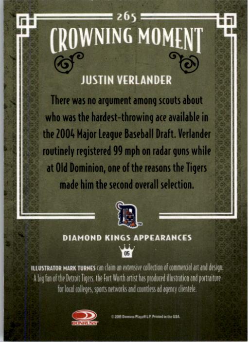 2005 Diamond Kings #265 Justin Verlander RC back image