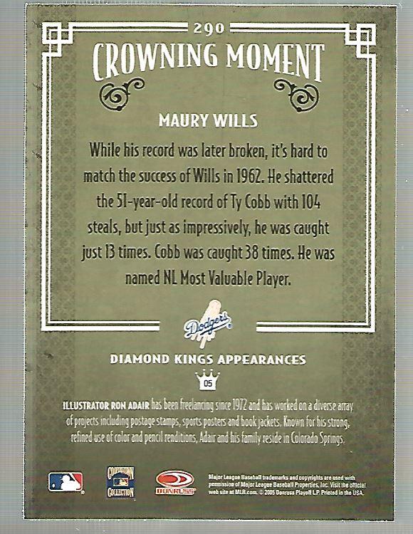 2005 Diamond Kings #290 Maury Wills back image