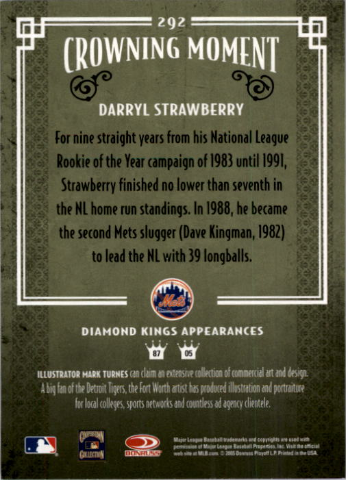 2005 Diamond Kings #292 Darryl Strawberry back image