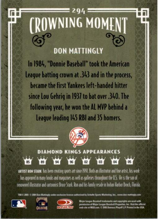 2005 Diamond Kings #294 Don Mattingly back image