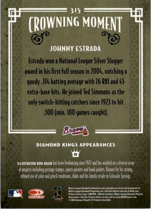2005 Diamond Kings #315 Johnny Estrada back image
