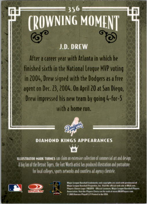2005 Diamond Kings #356 J.D. Drew back image