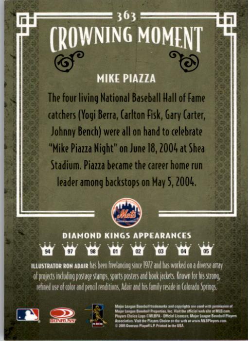 2005 Diamond Kings #363 Mike Piazza Mets back image