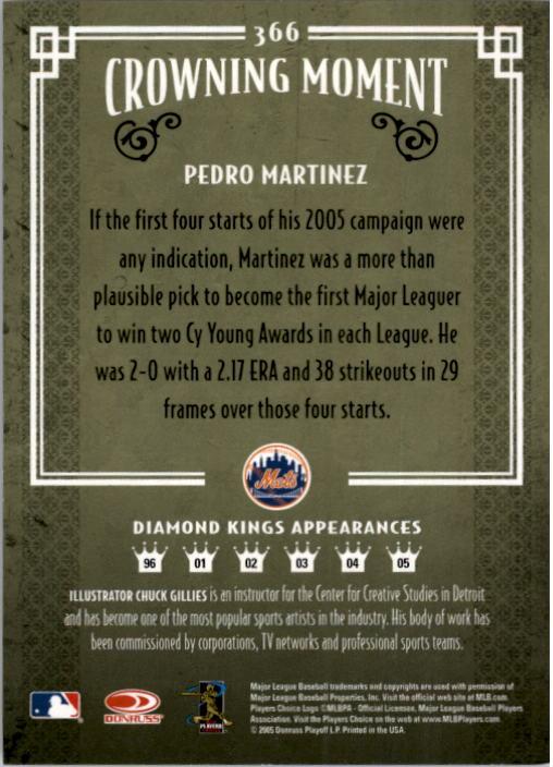 2005 Diamond Kings #366 Pedro Martinez back image