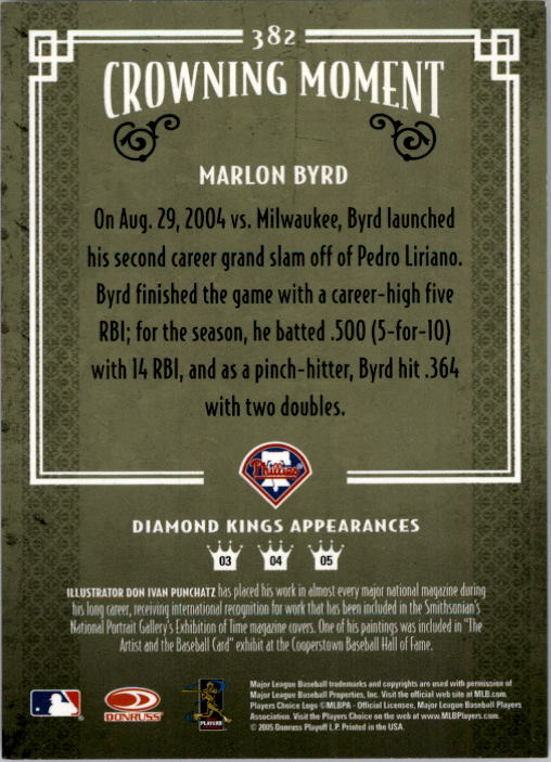 2005 Diamond Kings #382 Marlon Byrd back image