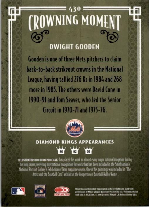 2005 Diamond Kings #430 Dwight Gooden back image