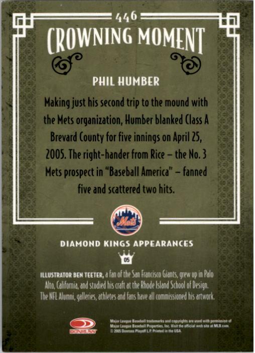 2005 Diamond Kings #446 Phil Humber RC back image