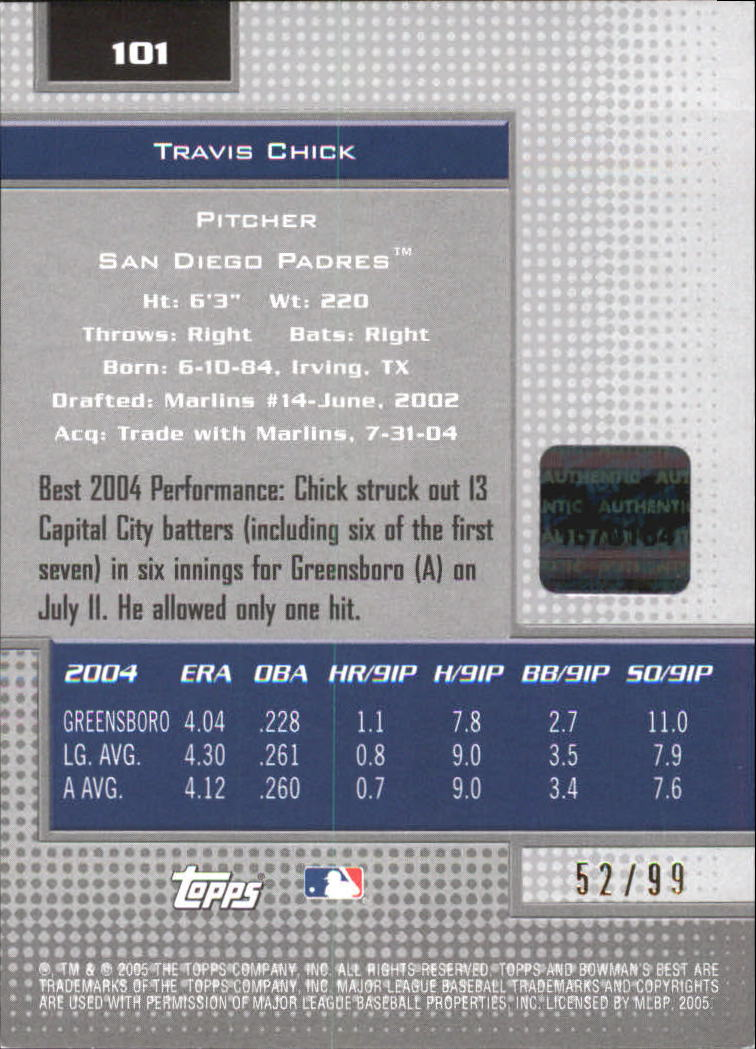2005 Bowman's Best Silver #101 Travis Chick FY AU back image
