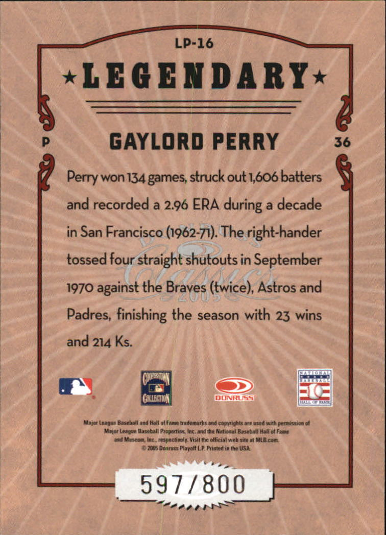 2005 Donruss Classics Legendary Players #16 Gaylord Perry back image