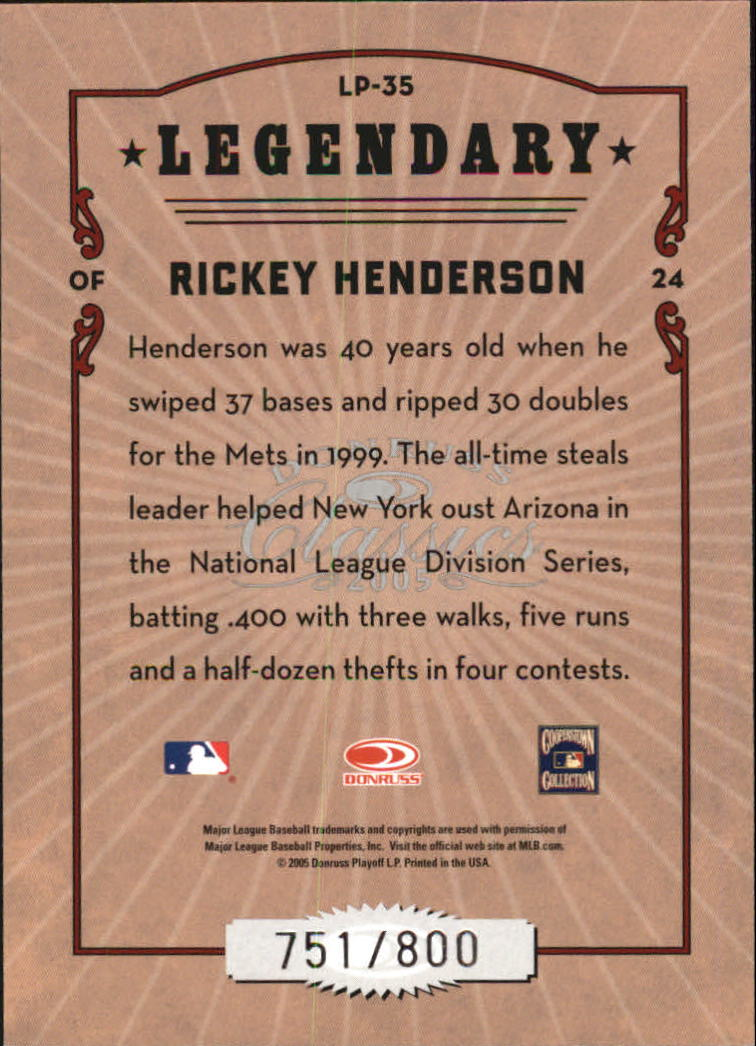 2005 Donruss Classics Legendary Players #35 Rickey Henderson back image