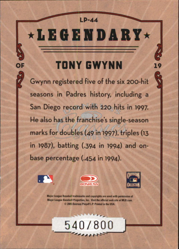 2005 Donruss Classics Legendary Players #44 Tony Gwynn back image