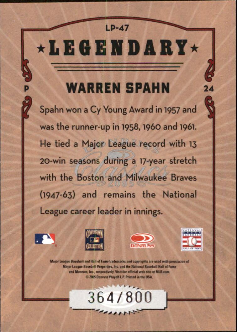 2005 Donruss Classics Legendary Players #47 Warren Spahn back image