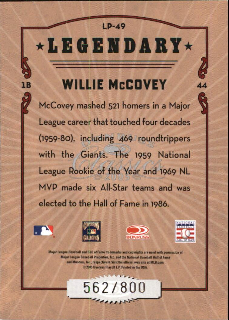2005 Donruss Classics Legendary Players #49 Willie McCovey back image