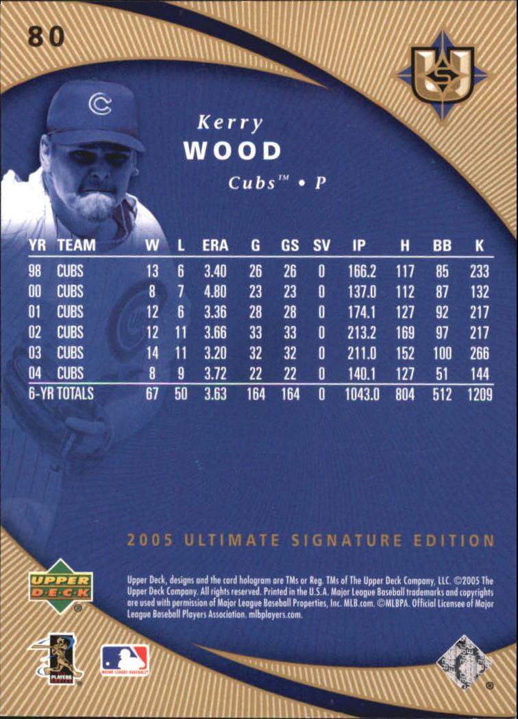 2005 Ultimate Signature #80 Kerry Wood back image