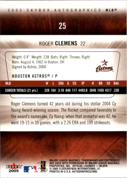 2005 SkyBox Autographics #25 Roger Clemens back image