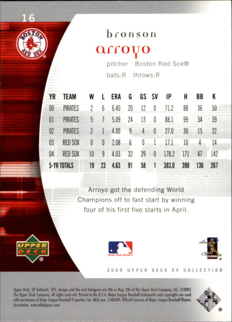 2005 SP Authentic #16 Bronson Arroyo back image